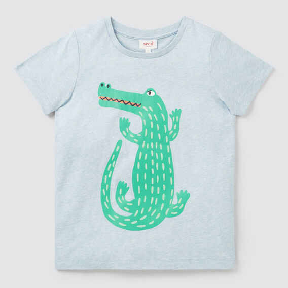 Flock Croc Tee  SLEEPY BLUE MARLE  hi-res