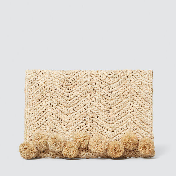 Pom Pom Raffia Clutch  NATURAL  hi-res