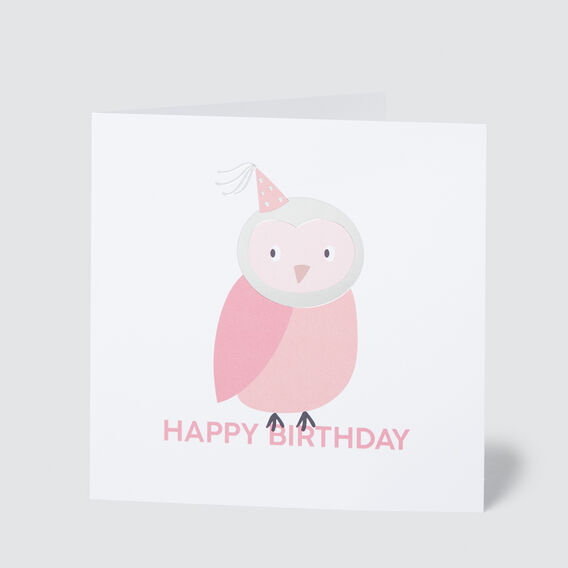 Large Owl Happy Birthday Card  MULTI  hi-res