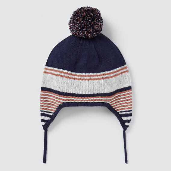 Varied Stripe Beanie  GREY SPECKLE MARLE  hi-res