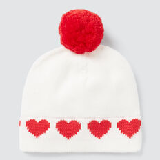 Hearts Pom Pom Beanie  NB CANVAS  hi-res