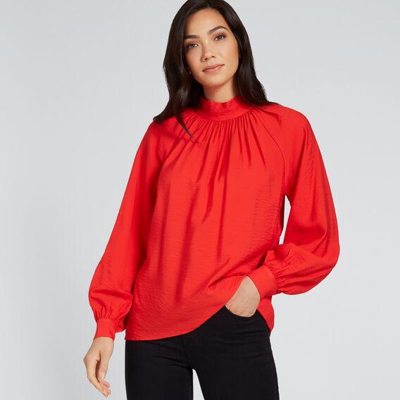 High Neck Blouson Shirt  FIERY RED  hi-res