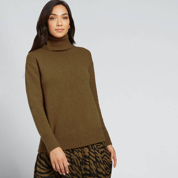 Cashmere Roll Neck Knit  DARK KHAKI MARLE  hi-res