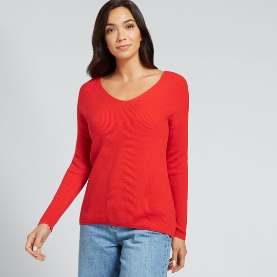 Rib Comfy Sweater  FIERY RED  hi-res
