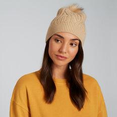 Cable Knit Beanie  BEIGE  hi-res