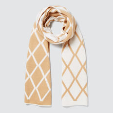 Diamond Knit Scarf  CARAMEL/CREAM  hi-res