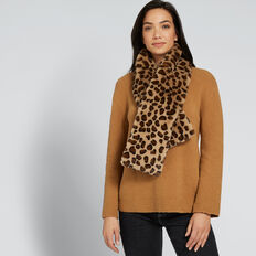 Ocelot Faux Fur Scarf  GINGERBREAD/BLACK  hi-res