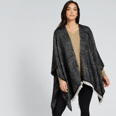 Fringe Edge Knit Poncho  BLACK MARLE  hi-res