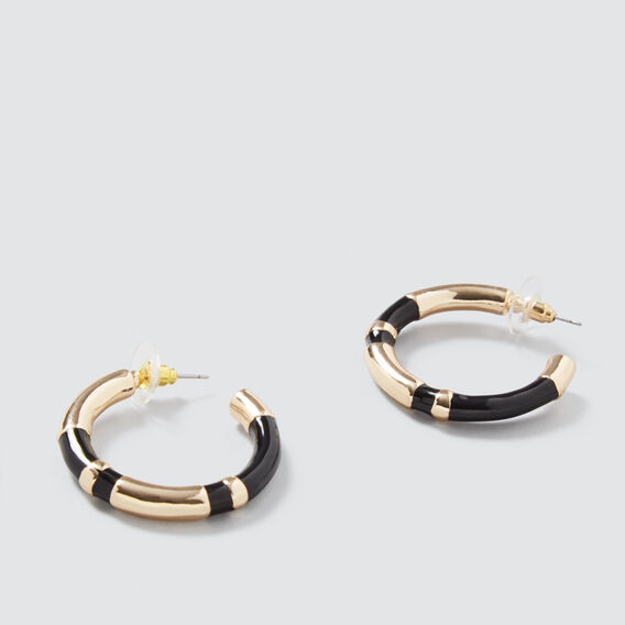 Colour Block Hoops  GOLD/BLACK  hi-res