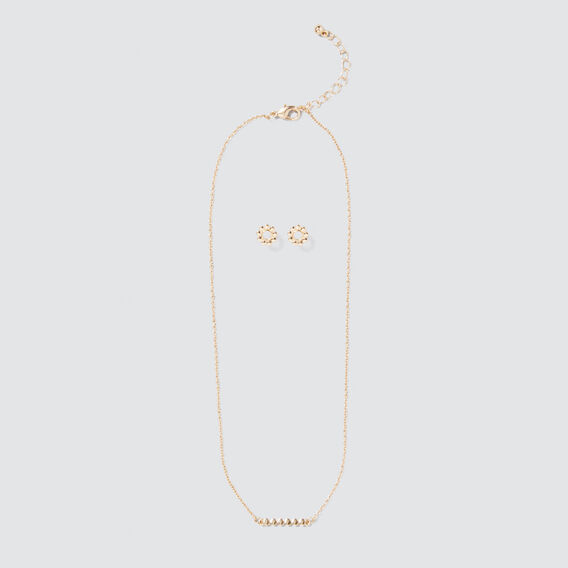 Stud and Necklace Set  GOLD  hi-res