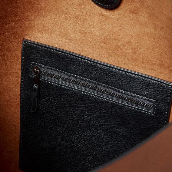 Stitch Detail Tote  BLACK/TAN  hi-res