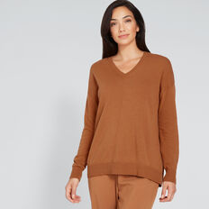 V-Neck Front Seam Sweater  VINTAGE BRONZE  hi-res