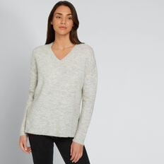 V Neck Plush Sweater  LIGHT ASH MARLE  hi-res