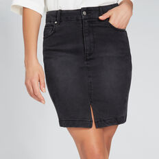 Side Stitch Denim Skirt  WASHED BLACK  hi-res