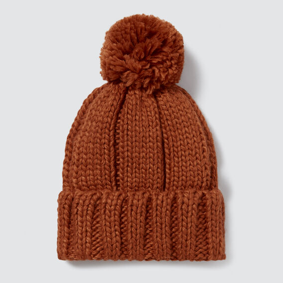 Rib Knit Pom Pom Beanie  BURNT TERRACOTTA  hi-res