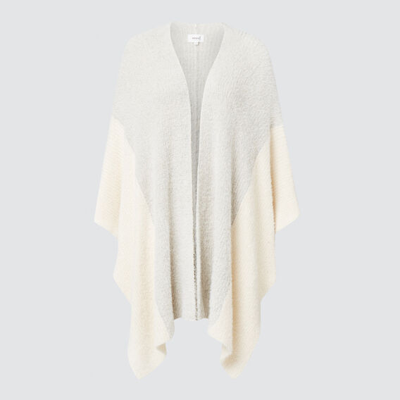 Contrast Sleeve Poncho  GREY/CREAM  hi-res