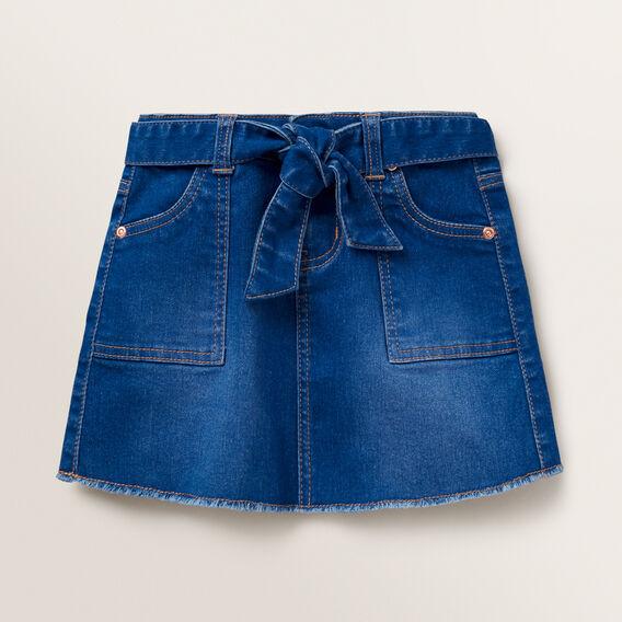 Tie Waist Denim Skirt  BRIGHT INDIGO  hi-res