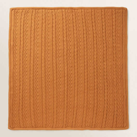 Knitted Cable Sherpa Blanket  NUTMEG  hi-res