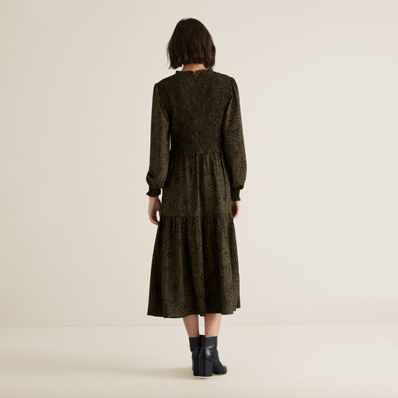Shirred Animal Print Dress  RICH OLIVE ANIMAL  hi-res