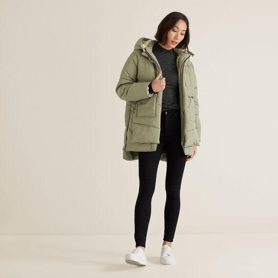 Fleece Puffer Jacket  WASHED OLIVE  hi-res