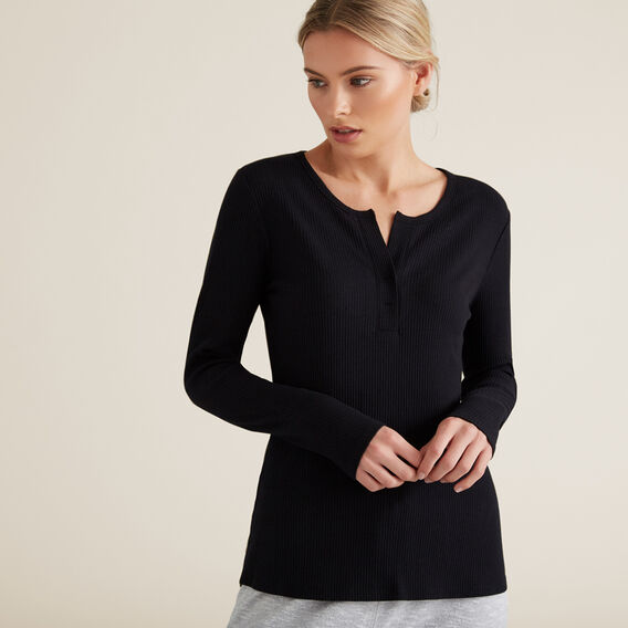 Henley Long Sleeve Top  BLACK  hi-res