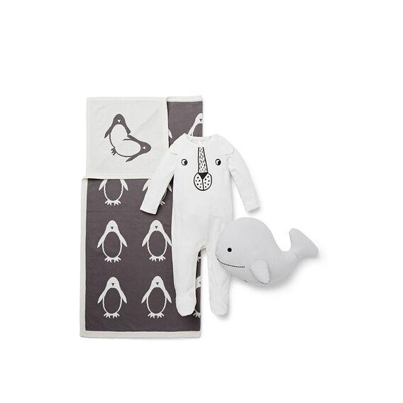 Penguin Knit Blanket  NB CANVAS  hi-res