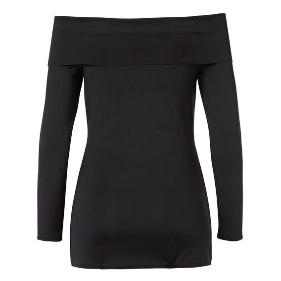Off Shoulder Long Sleeve Top  BLACK  hi-res