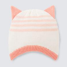 Knit Ear Stripe Beanie  CORAL RED  hi-res