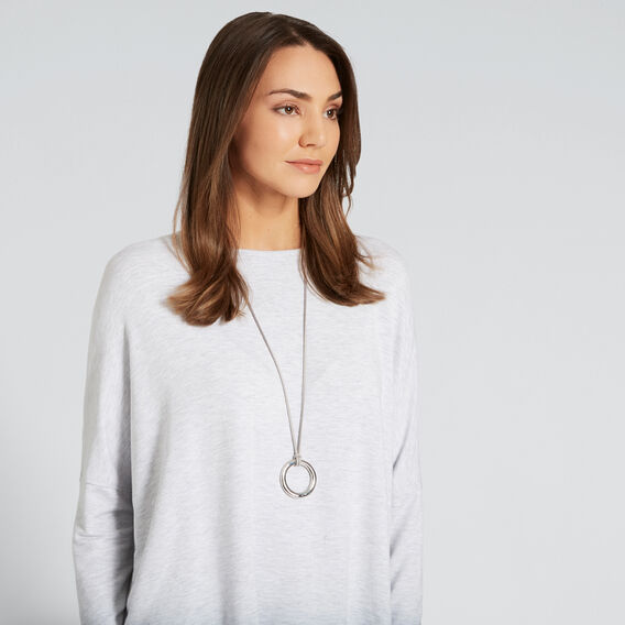 Suede Pendant Necklace  GREY/SILVER  hi-res