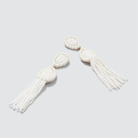 Tear Drop Tassel Earrings  WHITE  hi-res