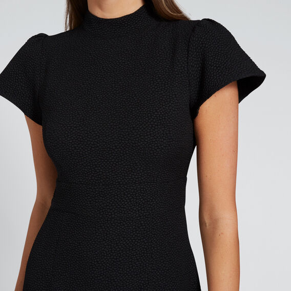 Funnel Neck Fishtail Dress  BLACK  hi-res