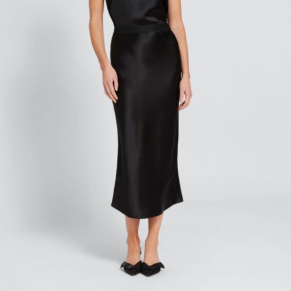 Satin Midi Skirt  BLACK  hi-res