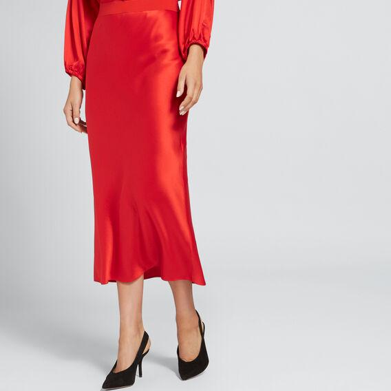 Satin Midi Skirt  FIERY RED  hi-res