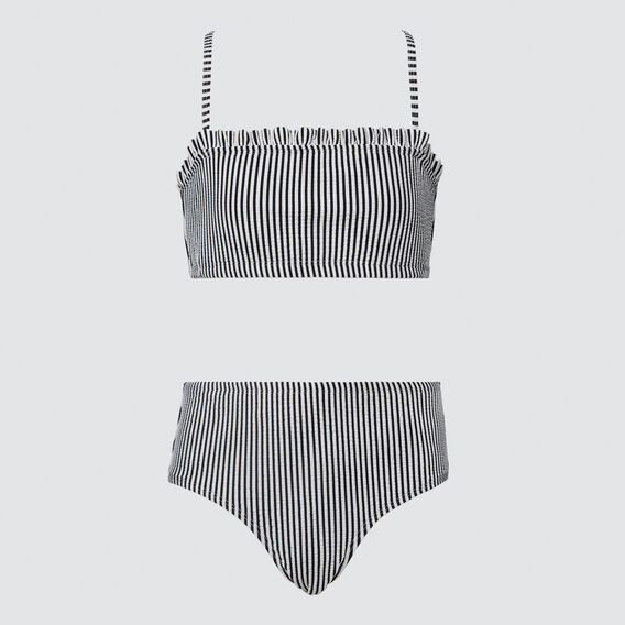 Seersucker Bandeau Bikini  BLACK  hi-res