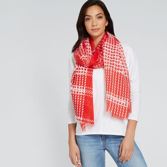 Printed Check Scarf  RED/WHITE  hi-res