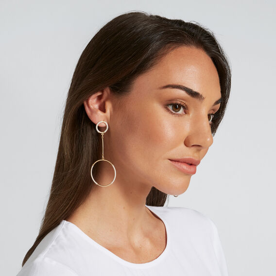 Wrapped Circle Earrings  GOLD/CREAM  hi-res