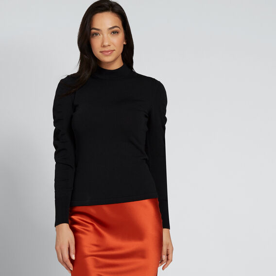 Crepe Roll Neck Knit  BLACK  hi-res
