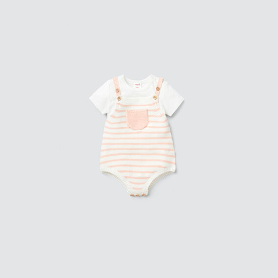 Knit Stripe Onesie  PEACH  hi-res