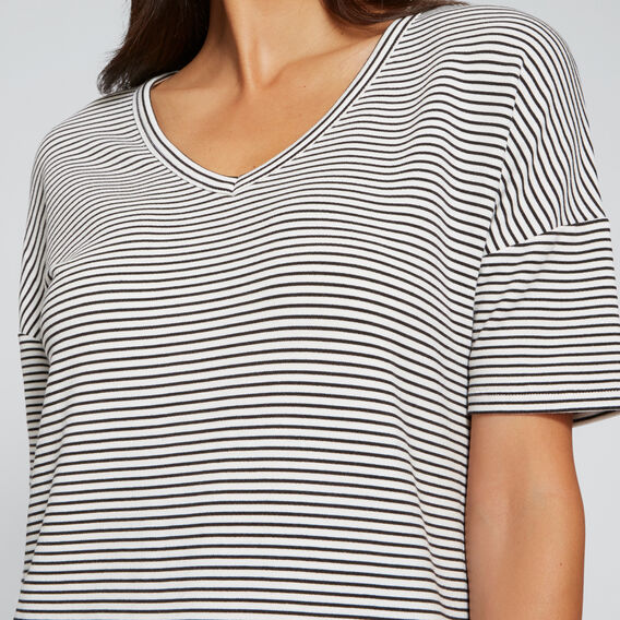 Longline V-Neck Tee  BLACK/WHITE STRIPE  hi-res