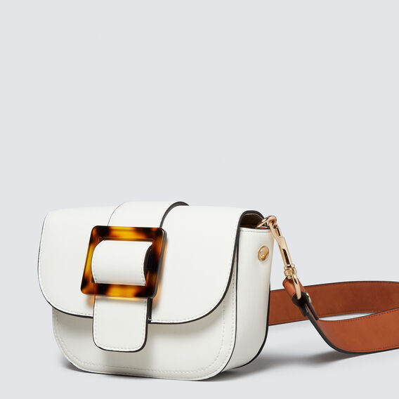 Tort Buckle Cross Body Bag  WHITE/TAN  hi-res