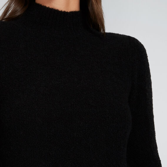 Mock Neck Boucle Knit  BLACK  hi-res