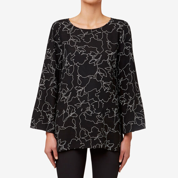 Floral Outline Blouse  BLACK FLORAL  hi-res