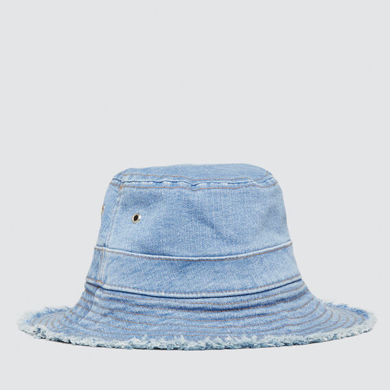 Frayed Denim Sun Hat  DENIM  hi-res
