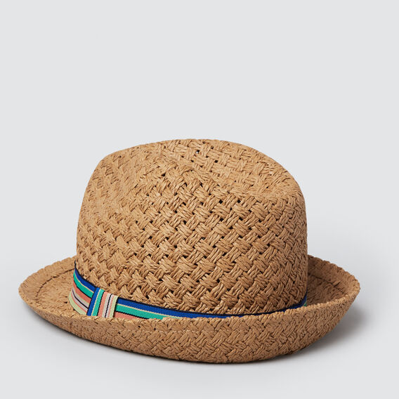 Stripe Band Fedora  TAN  hi-res