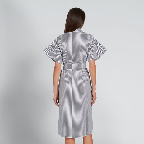 Frill Sleeve Shirt Dress  DEEP NAVY STRIPE  hi-res