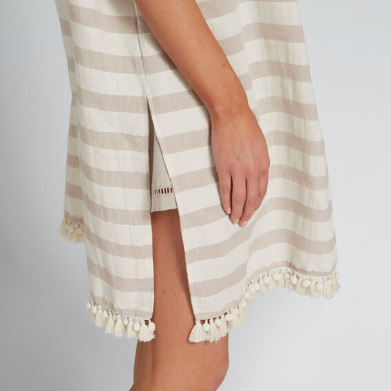 Multi Stripe Poncho  TAUPE/CREAM  hi-res