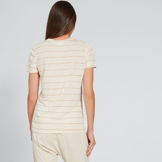 Round Neck Linen Tee  OYSTER/LIGHT COCOA  hi-res