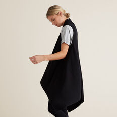 Sleeveless Knit Poncho  BLACK  hi-res