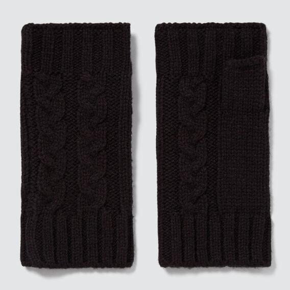 Cable Fingerless Gloves  BLACK  hi-res