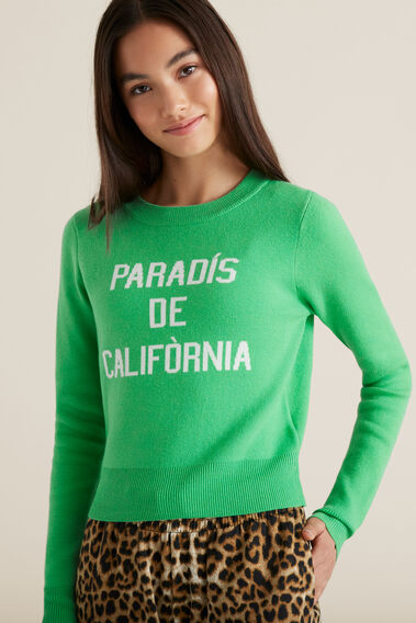 Slogan Sweater  WASHED GREEN  hi-res